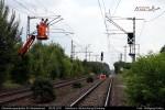 Fahrleitungsarbeiten für den östlichen Gleiswechsel