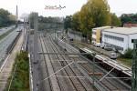 Nürnberg-Doos 17.10.10: Blick vom Leiblsteg in Richtung Fürth; das S-Bahngleis befindet sich im Aufbau