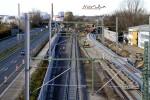 Blick vom Leiblsteg in Richtung Fürth: Vorbereitungen für die neuen Gleisverbindung