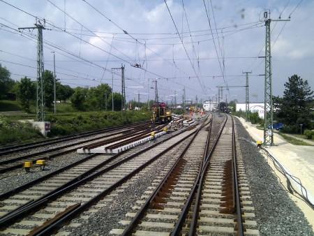 Umbau der Weiche 5 in Ansbach, 14.5.2011