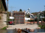 Bau der Regnitzbrücke. Blick auf die Stadelner Seite - 23.10.2011