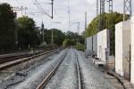 Erlangen 30.08.14: Neu verlegtes Gleis 1 Nord, im Hintergrund das alte ASig 27N1