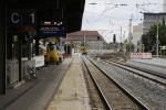 Erlangen 22.08.14: Die Pflastersteine wurden auf etwa ein Meter Breite entfernt