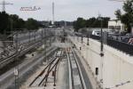 Bruck 22.08.14: Blick von der Felix-Klein-Straße: zwei Bauweichen sind ausgebaut, die Weiche 603 liegt bereit