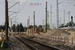 Eltersdorf 30.08.14: Blick von Höhe BAB73-Anschlussstelle in Richtung Norden; Ein deutlicher Höhenunterschied zwischen alten und neuen Gleisen