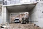 Burgbergtunnel 09.02.15: Freigeräumte  Trasse unter der Bayreuther Straße, Blickrichtung Tunnelportal