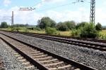 Baiersdorf 28.06.15: Gleissperre in Gleis 3, im Hintergrund Handweiche 508
