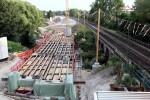 Erlangen 17.07.15: Gerüst für die Schalung der Schwabachbrücke