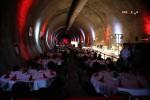 Burgbergtunnel 2.7.15: Gedeckte Tafeln und Buffett für den Baustellen-Imbiss