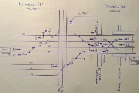 Gleisplan Erlangen Hbf/Pbf, Stand 29.06.2015