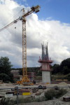 Emskirchner Brücke, 16.8.2015 - Bauarbeiten an einem Pfeiler