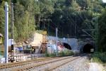 Burgbergtunnel 22.08.15: Blick auf die Nordportale von altem und neunen Tunnel