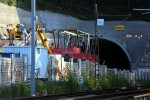 Burgbergtunnel 22.08.15: Vor dem Nordportal wird der Schalwagen aufgebaut