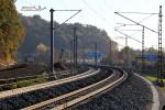 Bubenreuth 31.10.15: Blick aus dem Kurve bei km 26,2, rechts der Durchblick durch den alten Burgbergtunnel