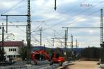 Baiersdorf 18.04.16: Das Fahrleitungsende ist im Moment noch abgespannt