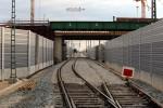 Baiersdorf 18.04.16: Blick von Bauweiche 03 auf die neu verlegten Gleise