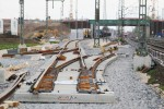 Baiersdorf 25.04.16: Blick auf das neu verlegte Süd-Nord-Ferngleis; im Vordergrund Bauweiche 02