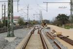 Baiersdorf 25.04.16: Blick aus dem neu verlegten Süd-Nord-Ferngleis in Richtung Norden; zu sehen auch die Bauweichen 04 und 02