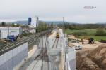Baiersdorf 25.04.16: Blick von der Brücke Jahnstraße in Richung Norden; die Bauweiche 03 vorne links wird demnächst wieder ausgebaut