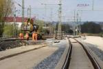 Baiersdorf 29.04.16: Das künftige Süd-Nord-Ferngleis ist nun in Richtung Norden angebunden
