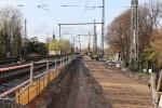 Erlangen 12.04.16: Blick vom Gleisende Gleis  1 in Richtung Norden