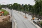 Erlangen 12.05.16: Blick von der Bayreuther Straße in Richtung Süden; gut zu erkennen die Trasse für das Wendegleis mit zugehörigem Bahnsteig