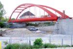Rothenburger Str. 14.05.16: Blick von Nordosten auf die Stabbogenbrücke