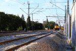 Erlangen 13.08.16: Die neue Weichenverbindung 907/908; Anpassungsarbeiten an der Fahrleitung