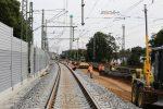Erlangen 11.08.16: rechts wird der Unterbau für Gleis 2 eingebaut