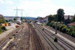 Forchheim 14.08.16: Blick von der Bayreuther Straße in Richtung Süden; der Bahnsteig 3 (Gleis 4/5) ist nun außer Betrieb