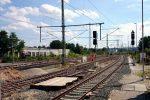 Forchheim 14.08.16: Südliche Bahnhofsausfahrt; im Vordergrund die südlichen Ausfahrsignale P1 und P2, im Hintergrund die ungültigen Signale P4 und P5