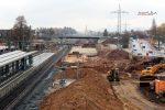 Forchheim 27.11.16: Blick vom Fußgängersteg in Richtung Norden; im Bild unten der ehemalige Treppenaufgang zu Gleis 4/5