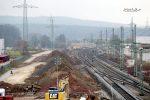 Forchheim 27.11.16: Blick vom Fußgängersteg in Richtung Süden; Gut zu erkennen die Weiche 7 als ehemaliger Abzweig nach Gleis 4/5