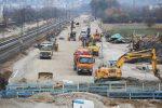 Kersbach 27.11.16: Blick von FO 25 in Richtung Norden; unten im Bild die Baugrube für den Bahnsteigzugang
